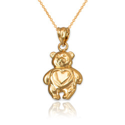 Yellow Gold Teddy Bear Charm Necklace