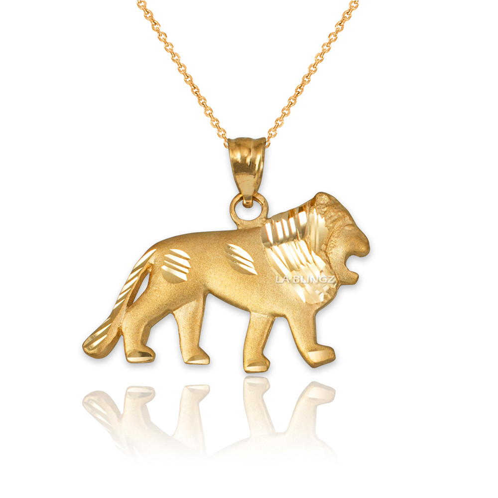 LA BLINGZ 10K Yellow Gold Satin Lion Head DC Leo Pendant S//L