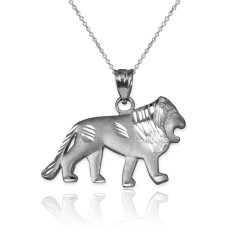 White Gold Matte DC Lion Pendant Necklace