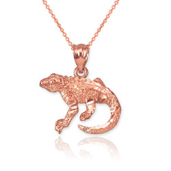 Rose Gold Salamander Lizard DC Pendant Necklace