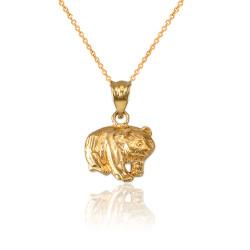 LA BLINGZ 10K Yellow Gold Tiger Head DC Charm Necklace