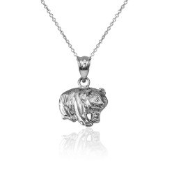 Sterling Silver Tiny Grizzly Bear DC Charm Necklace