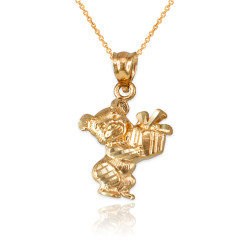Yellow Gold Cute Teddy Bear Gift Box DC Charm Necklace