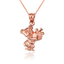 Rose Gold Cute Teddy Bear Gift Box DC Charm Necklace