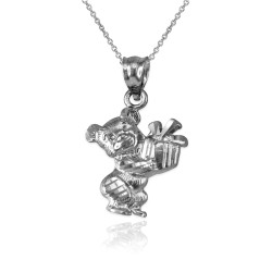 Sterling Silver Cute Teddy Bear Gift Box DC Charm Necklace