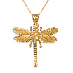 Solid Yellow Gold Dragonfly DC Pendant Necklace