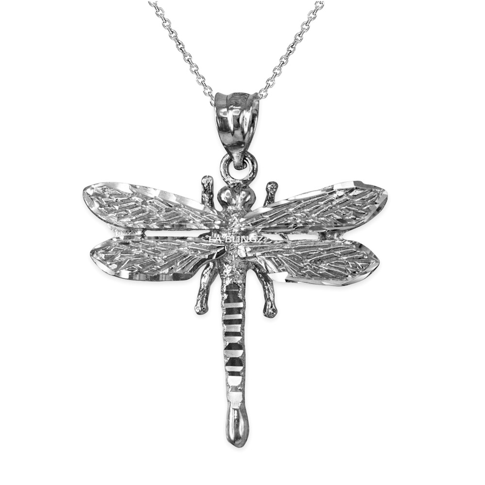 7a7dadb76 ... Solid White Gold Dragonfly DC Pendant Necklace. Image 1