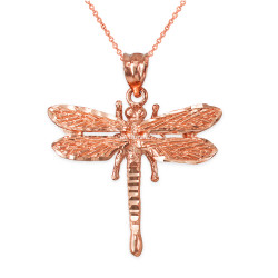 Solid Rose Gold Dragonfly DC Pendant Necklace
