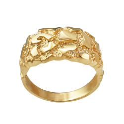 Polished Yellow Gold Mens Nugget Ring