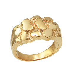 Yellow Gold Mens Nugget Ring