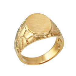 Yellow Gold Oval Signet Mens Nugget Band  Ring