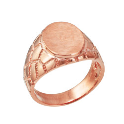 Rose Gold Oval Signet Mens Nugget Band  Ring
