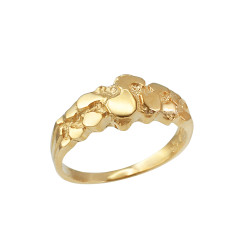 Yellow Gold Nugget Wedding Band Ring