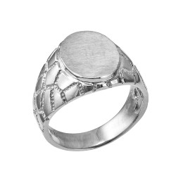 Sterling Silver Oval Signet Mens Nugget Band Ring