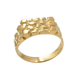 Mens Yellow Gold Rectangular Nugget Ring