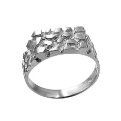 Mens White Gold Rectangular Nugget Ring