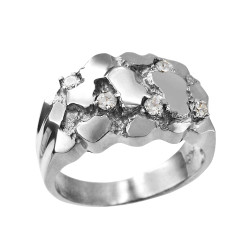 Mens White Gold CZ Nugget Ring