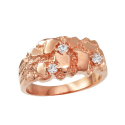 Rose Gold Elegant CZ Nugget Ring