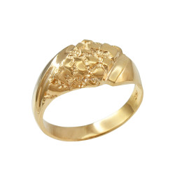 Mens Yellow Gold Diamond-shape Nugget Ring