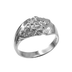 Mens White Gold Diamond-shape Nugget Ring