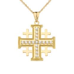 Yellow Gold CZ Jerusalem Cross Pendant Necklace