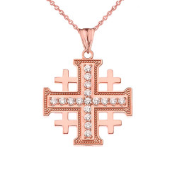 Rose Gold CZ Jerusalem Cross Pendant Necklace