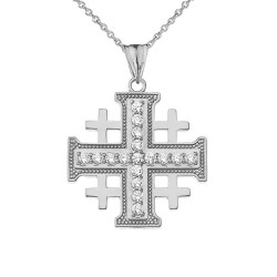 Sterling Silver CZ Jerusalem Cross Pendant Necklace