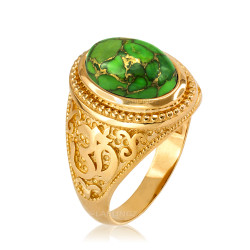 Yellow Gold Om (aum) Oval Green Copper Turquoise Ring