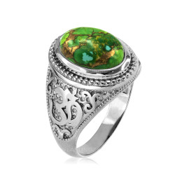 White Gold Om (aum) Oval Green Copper Turquoise Ring