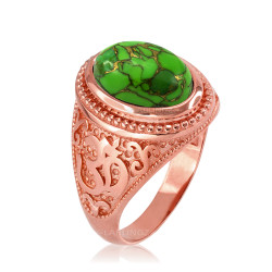 Rose Gold Om (aum) Oval Green Copper Turquoise Ring