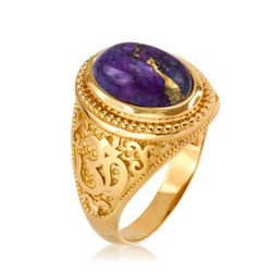 Yellow Gold Om (aum) Oval Purple Copper Turquoise Ring