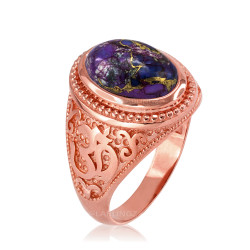 Rose Gold Om (aum) Oval Purple Copper Turquoise Ring