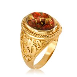 Yellow Gold Om (aum) Oval Orange Copper Turquoise Ring