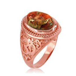 Rose Gold Om (aum) Oval Orange Copper Turquoise Ring