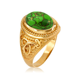 Yellow Gold Celtic Knot Green Copper Turquoise Ring