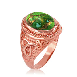 Rose Gold Celtic Knot Green Copper Turquoise Ring