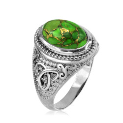 Sterling Silver Celtic Trinity Green Copper Turquoise Ring