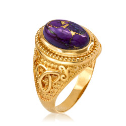 Yellow Gold Celtic Knot Purple Copper Turquoise Ring