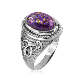 White Gold Celtic Knot Purple Copper Turquoise Ring