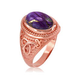 Rose Gold Celtic Knot Purple Copper Turquoise Ring