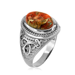 White Gold Celtic Knot Orange Copper Turquoise Ring