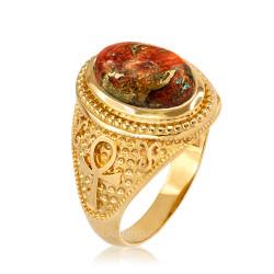 Yellow Gold Egyptian Ankh Orange Copper Turquoise Ring