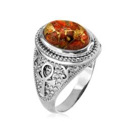 White Gold Egyptian Ankh Orange Copper Turquoise Ring