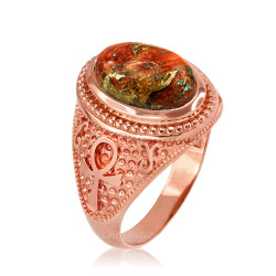 Rose Gold Egyptian Ankh Orange Copper Turquoise Ring