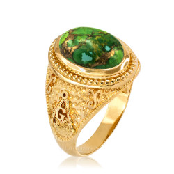 Yellow Gold Masonic Green Copper Turquoise Ring