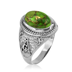 White Gold Masonic Green Copper Turquoise Ring