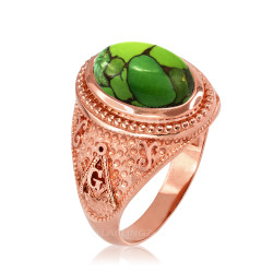 Rose Gold Masonic Green Copper Turquoise Ring