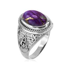 White Gold Masonic Purple Copper Turquoise Ring