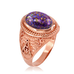 Rose Gold Masonic Purple Copper Turquoise Ring