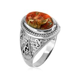 White Gold Masonic Oprange Copper Turquoise Ring